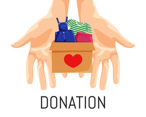 Vector Illustration of Clothes Donation in Cartoon Flat Style isolated on White Background. Concept Design of Charity and Social Care. Drawing of Hands or Palms with Donation Box with Items of Clothes