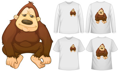 Gorilla and four designs on white shirts