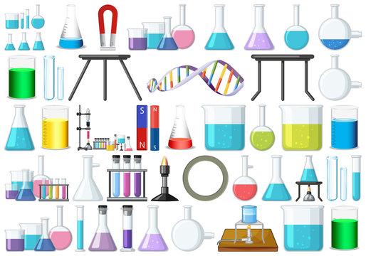 set of science beakers