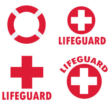 set of lifeguard icons on white background. flat style. set of beach labels and badges icon for your web site design, logo, app, UI. lifeguard symbol. lifeguard logo sign.