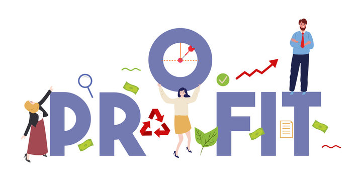 Profit finance concept illustration of profitability and teamwork. Work together business employee target.