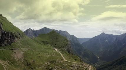 Wall Mural - Scenic Slovenian Julian Alps Region. Mountain Landscape Aerial Footage.