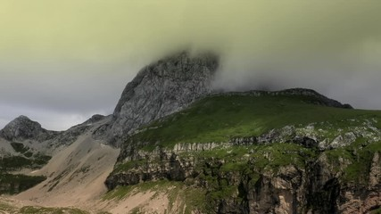 Wall Mural - Mangart is a Mountain in the Julian Alps, located on the border between Italy and Slovenia. Aerial Footage.