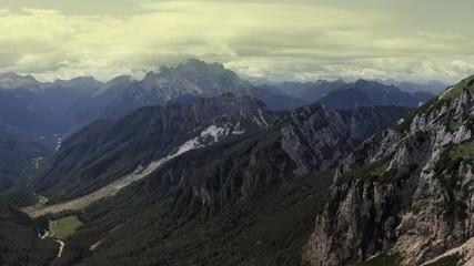 Wall Mural - Slovenian Julian Alps Region. Scenic Mountain Landscape Aerial Footage.