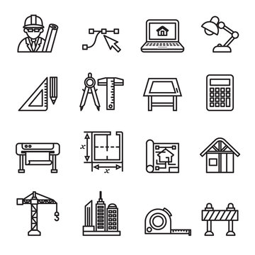 Architecture & Construction icons set with white background. Thin line style stock vector.