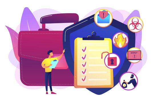 Economic crisis. Trouble minimization. Business continuity and disaster recovery, business continuity planning, risk management strategy concept. Bright vibrant violet vector isolated illustration