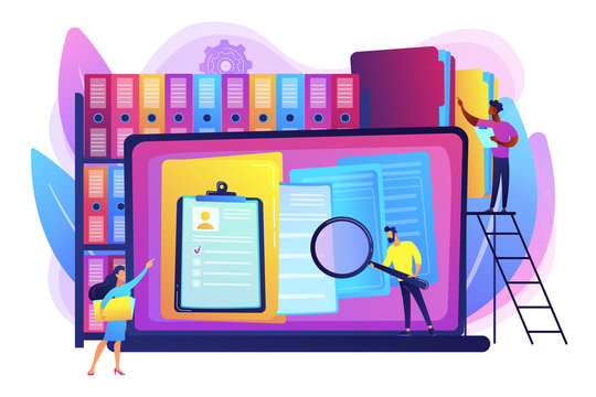 Organized archive. Searching files in database. Records management, records and information management, documents tracking system concept. Bright vibrant violet vector isolated illustration