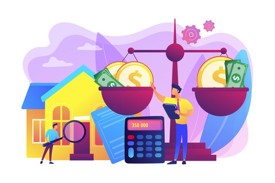 Real estate agency, property selling and buying. Financial consulting. Appraisal services, property valuation, appraisal professionals concept. Bright vibrant violet vector isolated illustration