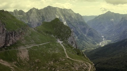 Wall Mural - Scenic Route in the Slovenian Julian Alps. Aerial Vista Footage.