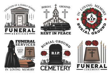 Funeral service, coffin, cemetery and tombstone
