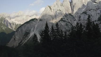 Wall Mural - Front Window Mountain or Mount Prisojnik Scenic Aerial Footage. Slovenia, Europe.
