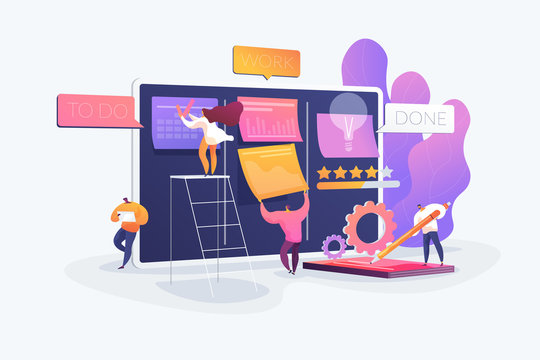 Workflow organization. Office work and time management. Kanban board, teamwork communication process, agile project management concept. Vector isolated concept creative illustration