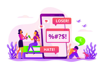 Internet trolling, psychological abuse, teenager violence. Girls laughing at sad boy. Cyberbullying, online flooding, social network harassment concept. Vector isolated concept creative illustration