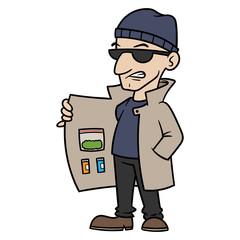 Cartoon Drug Dealer Vector Illustration