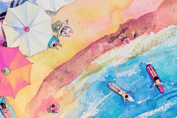 Fototapeta Painting watercolor seascape Top view colorful. obraz