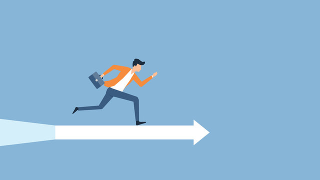 flat vector illustration businessman speed running to target success concept