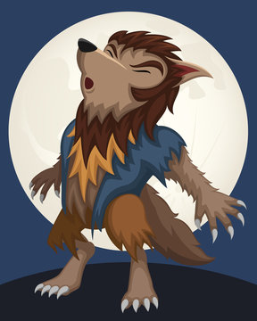 Vector illustration of a cartoon werewolf howling at the moon.