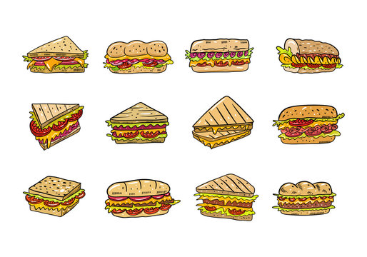 Sandwich hand drawn vector illustrtion big set. Cartoon style. Isolated on white background.