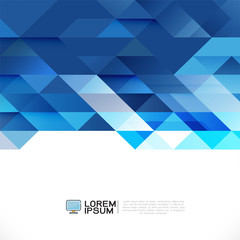 Abstract blue geometric layout template on white background with white space on bottom position. Modern background for business or technology, cover, online presentation website element.