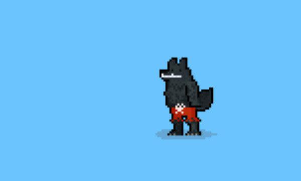 Pixel art werewolf character wearing red pant.halloween.8bit.