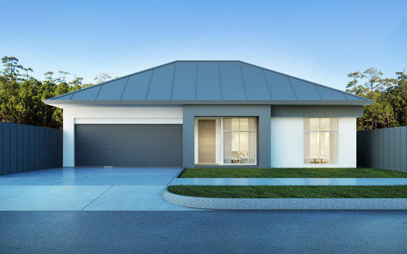 View of modern house in Australian style on pine forest and blue sky background,small building with metal sheet roof design. 3D rendering.