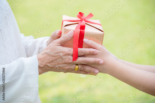 Closeup on young girl hands giving gift box to elderly woman on green nature background.