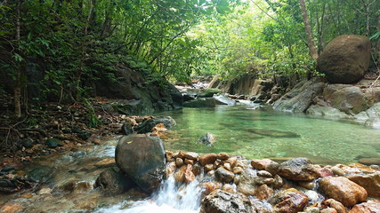 Recess Fitting Forest river National park Waterfall in to the Thailand jungle