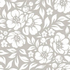 Seamless vector floral wallpaper. Decorative vintage pattern in classic style with flowers and twigs. Two tone ornament with white peony silhouette on gray background