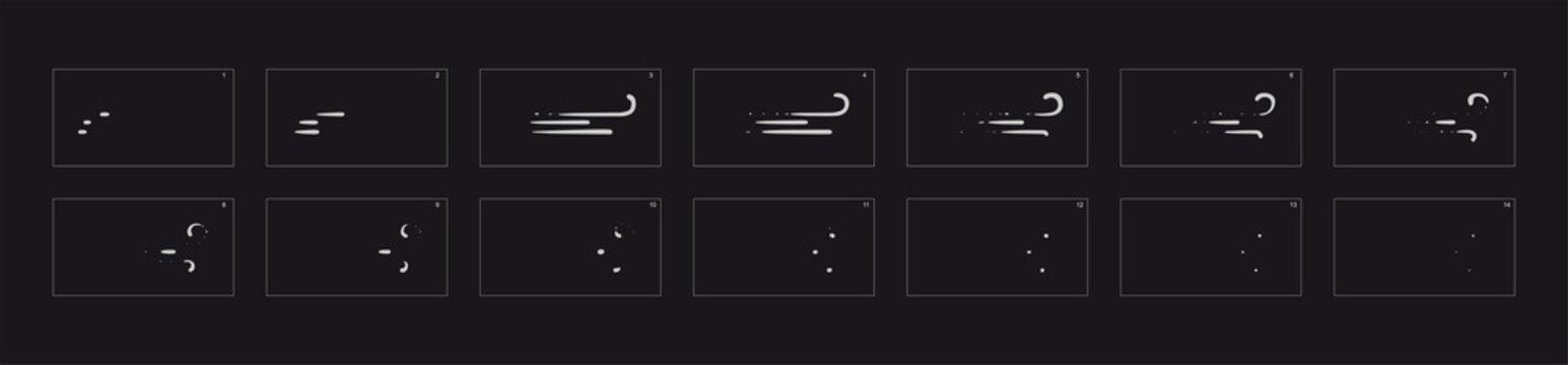 Smoke line effect. Smoke explosion animation. Sprite sheet for game, cartoon or animation