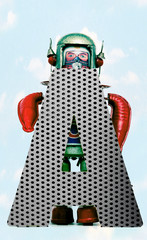 retro robots holding a big  metal letter A with blue sky