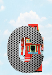 Wall Mural - retro robots holding a big  metal letter C with blue sky
