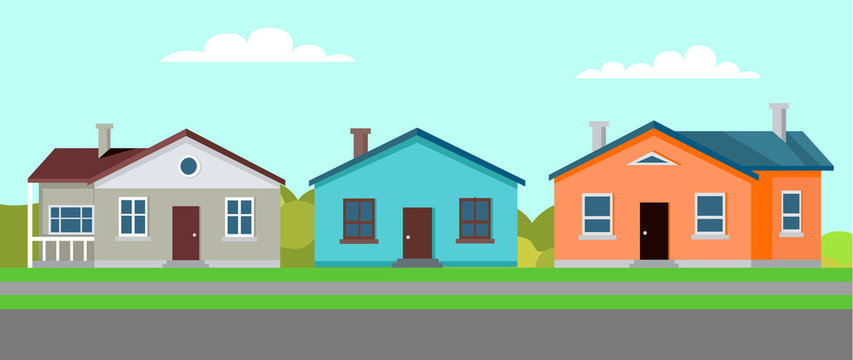 Quiet town with several buildings vector, residence and estate with greenery and lawns, homes built in traditional suburban style by long road flat style
