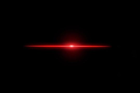 Red light Lens flare on black background.