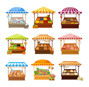 Set of street market stalls with various products. Vector illustration on white background.