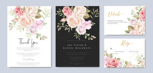 beautiful watercolor wedding invitation card with floral and leaves background template Wall mural