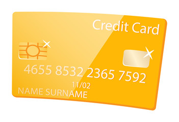 Wall Mural - Vip member of bank vector, isolated golden credit card made of plastic. Banking item with code, numbers and info about holder flat style money keeping