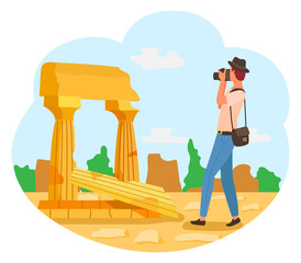 Tourist in hat with photo camera, man photographer in blue trousers taking photos of ancient ruins. Vector retro buildings, travelling concept, vintage columns