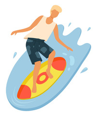 Male surfer balancing on board. Young boy with blonde hair wearing t-shirt and shorts surfing in ocean. Guy in swimming trunks doing water sport vector. Summertime activity