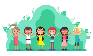 Aluminium Prints Rainbow Group of children holding hands and smiling outdoors. Full length view of cute little kids in colourful clothes standing together in park. Friendship and childhood vector