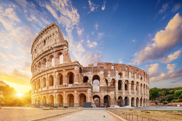 Fotobehang Rome Coliseum or Flavian Amphitheatre (Amphitheatrum Flavium or Colosseo), Rome, Italy.