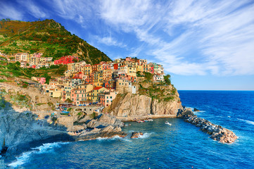 Foto auf Acrylglas Landschaft Famous city of Manarola in Italy - Cinque Terre, Liguria