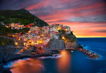 Photo sur Aluminium Bleu nuit Famous city of Manarola in Italy - Cinque Terre, Liguria