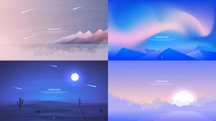 Vector backgrounds. Minimalist style. Flat concept. 4 landscapes collection. Mountains by the water, aurora in the Arctic, a night desert with a brightly shining moon, sunrise over water in the fog