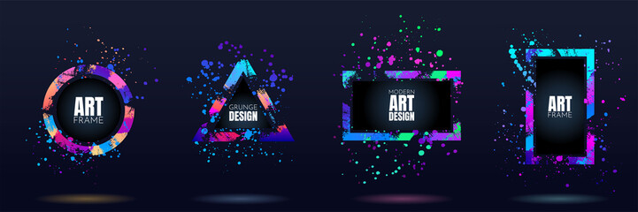 Vector frame for text. Modern Art graphics. Dynamic frame stylish geometric black background. Element for design business cards, invitations, gift cards, flyers and brochures. Distruction color paint