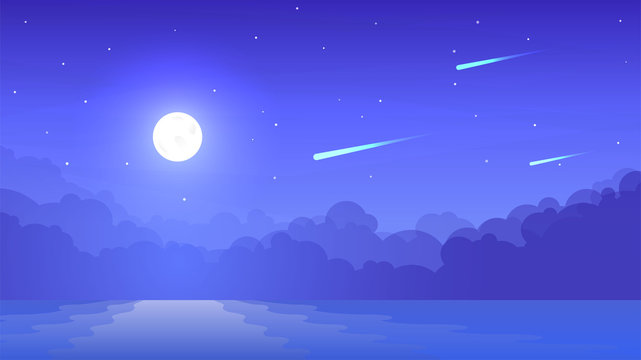 Vector minimalistic landscape in flat graphic style. Night cloudless sky. Panoramic image. Illustration with gradient fill. Color background. Moon near the water. Foggy wallpapers with reflection
