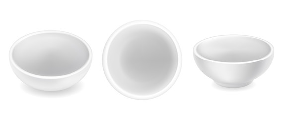 Set of empty sauce bowls