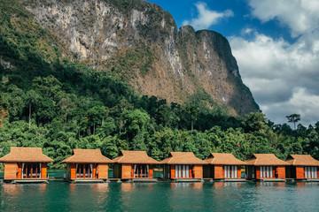Raft houses on Cheow Lan lake in Khao Sok National Park