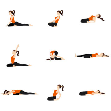 Bended knees yoga poses set/ Illustration stylized woman practicing yoga postures, variations with knees
