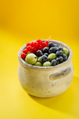 Summer berry set in concrete bowl