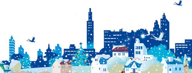 クリスマスのイルミネーションの街並み